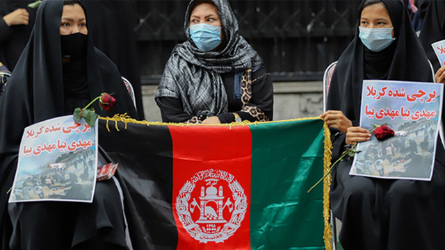 برگزاری مراسم یادبود شهدای کابل مقابل سفارت «افغانستان» در ایران+تصاویر